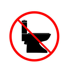 no toilet icon in red circle on white background vector image
