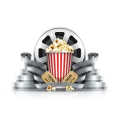 Popcorn film-strips and disks vector image