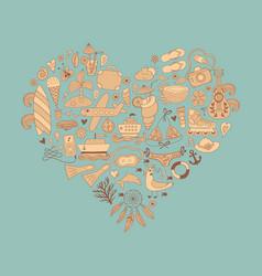 Summer heart design made of doodle season elements vector