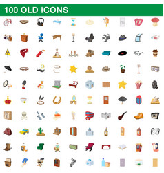 100 old icons set cartoon style vector