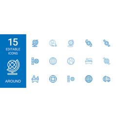 15 around icons vector image