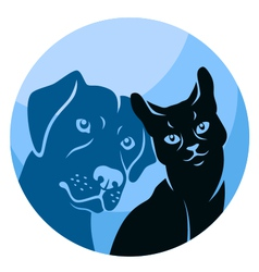 abstract cat and dog circle vector image