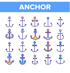 anchors ship equipment linear icons set vector image