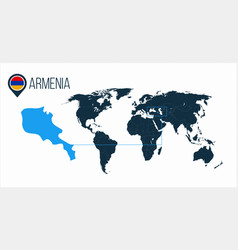 Armenia location on the world map for vector