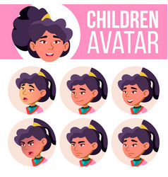 asian girl avatar set kid primary school vector image