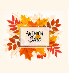 Autumn sales card with colorful leaves vector