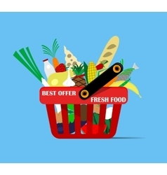 Basket with foods vector image