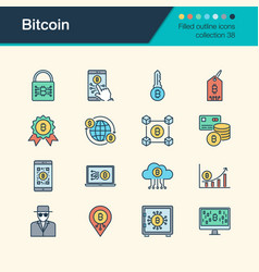 bitcoin icons filled outline design collection 38 vector image