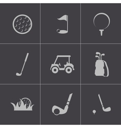 black golf icons set vector image