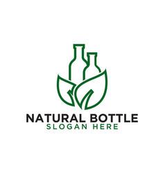 Bottle and leaf logo design template vector