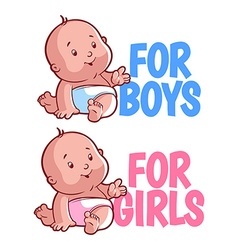 Boy and girl baby logo Isolated on a white vector