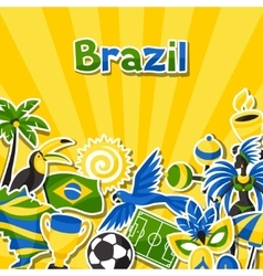 Brazil background with sticker objects and vector
