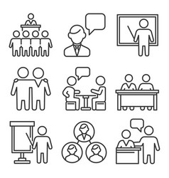 business conference and meeting icons set line vector image