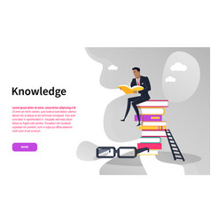 businessman with book knowledge online web page vector image