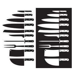 butcher knife silhouette sharp vector image