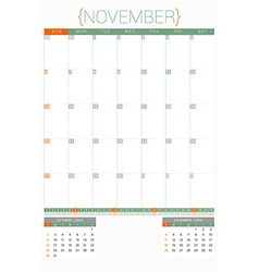 Calendar Planner 2016 Design Template November vector