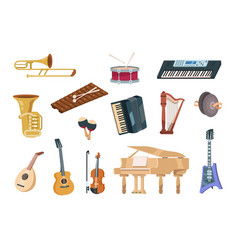 Cartoon musical instruments acoustic electric vector
