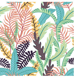 Cartoon tropical leaves seamless white background vector