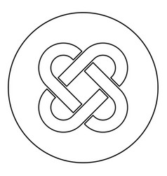 Celtic knot icon in circle round outline black vector