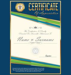 certificate retro design template 14 vector image