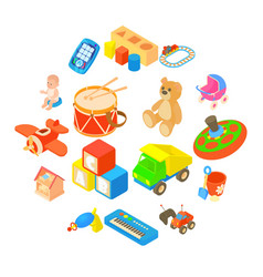 Childrens toys icons set flat style vector