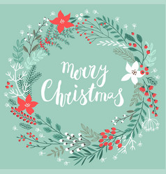 christmas callygraphic floral wreath - hand drawn vector image