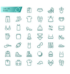 clothes shoes accessories outline set vector image
