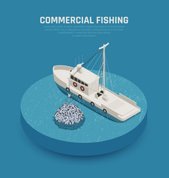 Commercial fishing vessel background vector