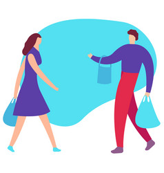 couple of young people shopping man and woman vector image
