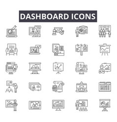 Dashboard line icons for web and mobile design vector
