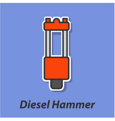 Diesel hammer color flat icon vector