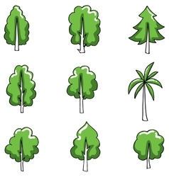 Doodle of tree set various object vector