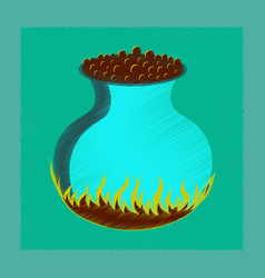 Flat shading style icon potion cauldron vector
