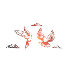 freedom peace couple flight birds concept vector image
