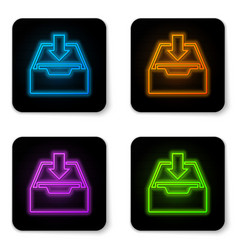 glowing neon download inbox icon isolated on vector image