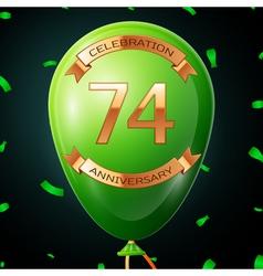 Green balloon with golden inscription seventy four vector