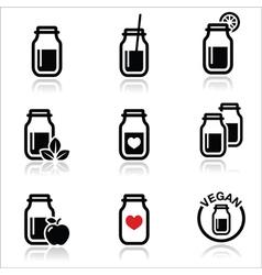 Green shake green smoothie jar icons set vector image