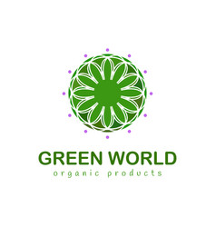 green world abstract floral logo elegant style vector image