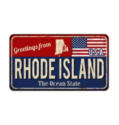 Greetings from rhode island vintage rusty metal vector