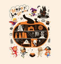 halloween party design template with the hand vector image