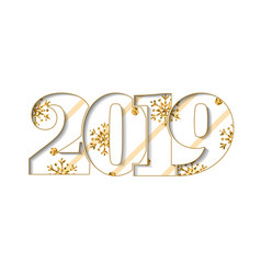 happy new year card beige striped number 2019 vector image