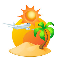 island with palm tree and sun isolated on white vector image
