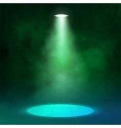 Lantern spotlight illuminates wooden scene Green vector image