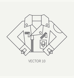 line flat icon wear - leather jackets punk vector image