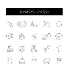 line icons set snowboard pack vector image