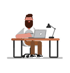 man designer doing on laptop vector image