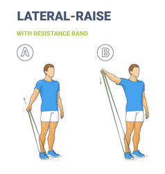 Man doing lateral arm raise home workout exercise vector