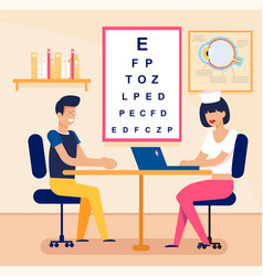 Man in eyeglasses visiting female oculist cartoon vector