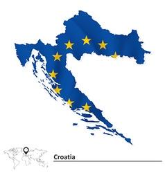 Map of Croatia with European Union flag vector