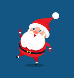 Merry santa claus stand smile on one leg in dance vector